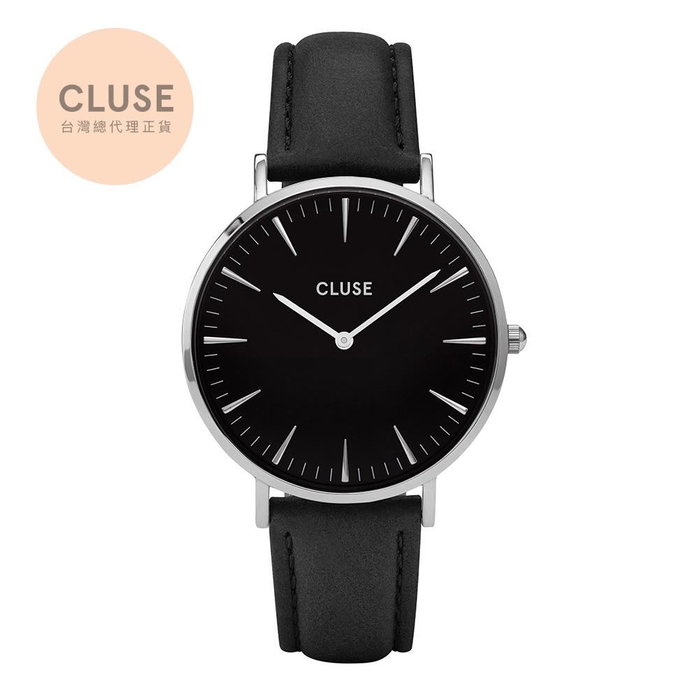 【公司貨】CLUSE La Boheme 銀色系列腕錶(銀框/黑錶面/黑錶帶)