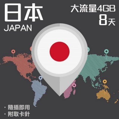 【PEKO】日本上網卡 8日高速4G上網 4GB流量 優良品質高評價