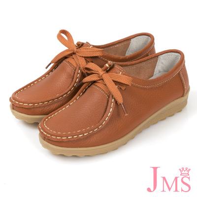 JMS-韓風舒適柔軟滾邊綁帶蝴蝶結休閒鞋-棕色