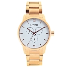 LOVME 紳士質感不鏽鋼三眼手錶-IP玫x白/43mm