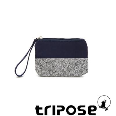 tripose漫遊系列岩紋x微皺尼龍多功能手拎袋(小)深藍