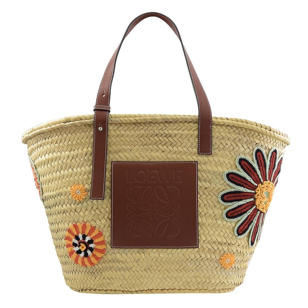 LOEWE Basket 皮革大LOGO花朵圖案裝飾草編包(大)
