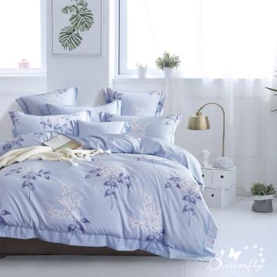 BUTTERFLY-3M專利+頂級天絲-加大薄床包被套四件組-夏日庭榭-藍