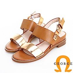 GEORGE 喬治皮鞋 率性時尚 一字帶柔軟羊皮低跟涼鞋 -金色