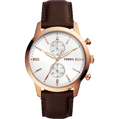 FOSSIL Townsman 城區計時手錶(FS5468)-銀x咖啡/44mm