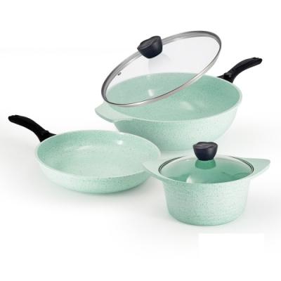 韓國LaCena翡翠陶瓷不沾鍋三鍋五件組(炒鍋+湯鍋+平底鍋+鍋蓋*2)