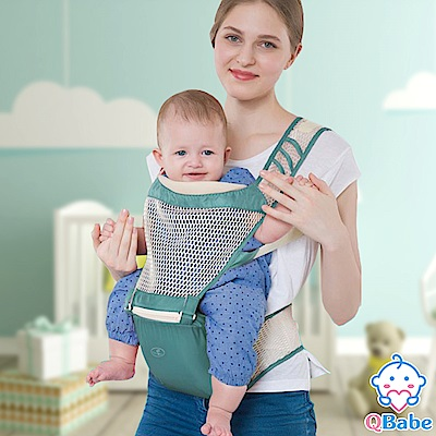 QBabe 全網格透氣舒適嬰兒背帶-綠色