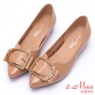 2.Maa 率性方釦牛皮低跟尖頭娃娃鞋 - 米