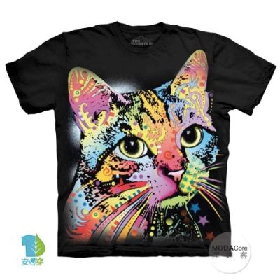摩達客(預購)美國進口The Mountain 彩繪卡通貓 純棉環保短袖T恤