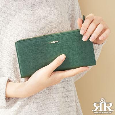 2R 頭層牛皮Shining綴飾手感長夾 橄欖綠