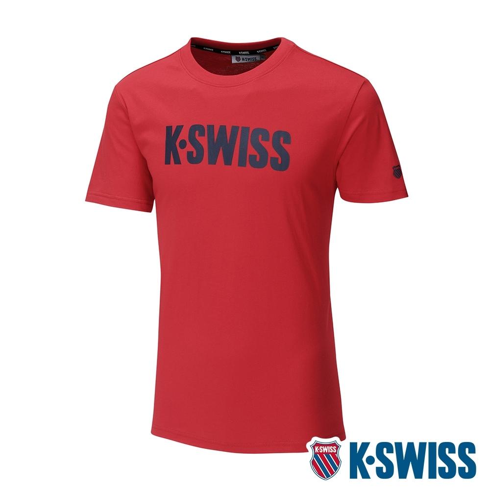 K-SWISS Contrast Logo Tee棉質吸排T恤-男-紅