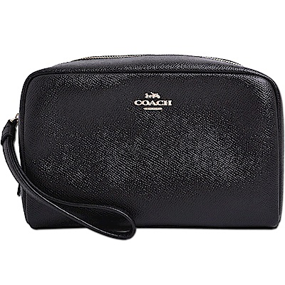 COACH 立體馬車LOGO防刮皮革手掛式萬用包/化妝包-質感黑