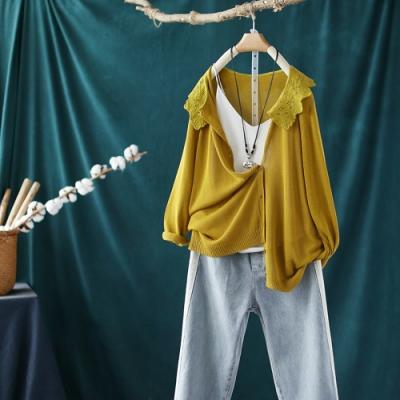 蕾絲花邊領針織開衫寬鬆薄版長袖冰絲外套-設計所在