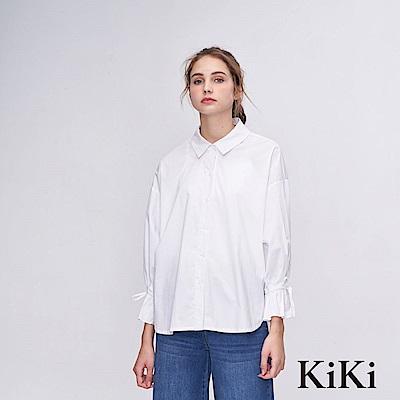 KiKi INLook純白澎澎綁袖襯衫