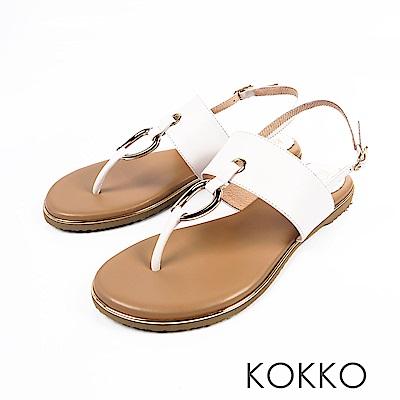 KOKKO -不羈靈魂金屬環軟墊平底夾腳涼鞋-椰奶白
