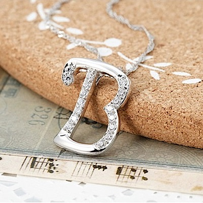 米蘭精品 925純銀項鍊-時尚簡約B英文字母