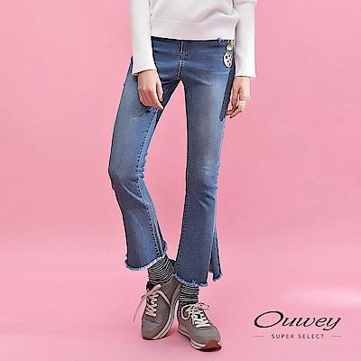 OUWEY歐薇 貓咪貼布繡-5kg彈性牛仔喇叭褲(藍)