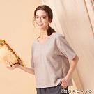 GIORDANO 女裝自然棉麻系列短袖寬版上衣-02 淺灰
