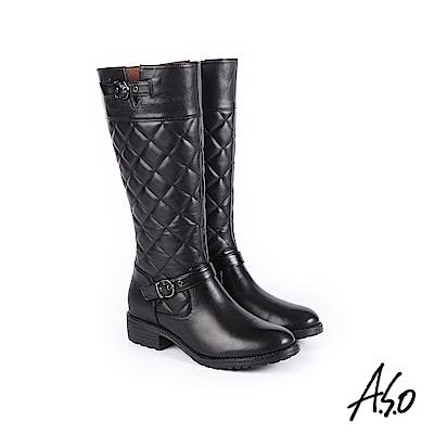 A.S.O 經典格紋 中性風真皮時髦長靴 黑