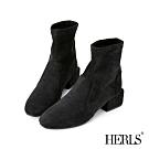 HERLS短靴-麂皮絨拼接小方頭粗跟短靴襪靴-黑色