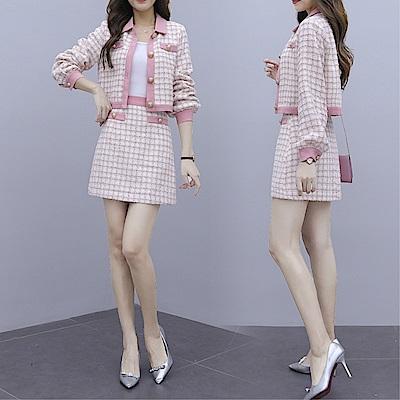 DABI 韓系粉色格紋小香風時尚名媛氣質套裝長袖裙裝