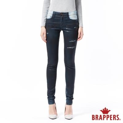 BRAPPERS 女款 新美腳ROYAL系列-女用中高腰彈性噴漆窄管褲-藍
