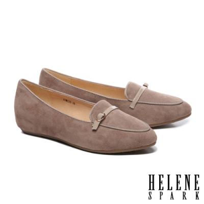 低跟鞋 HELENE SPARK 經典百搭全真皮內增高樂福低跟鞋-杏