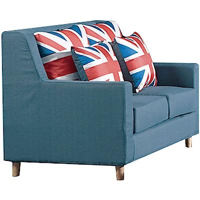 品家居 米瑟現代藍亞麻布獨立筒二人座沙發椅-128x81x90cm免組