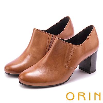 ORIN 中性英倫風必備 雙色打蠟牛皮粗跟牛津鞋-棕色
