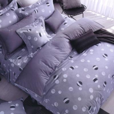Carolan 圓點節奏-灰  加大五件式純棉床罩組(台灣製)