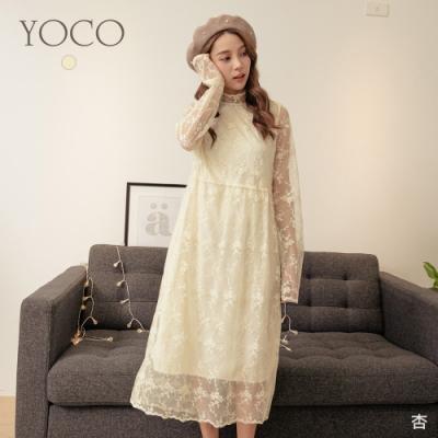 東京著衣-YOCO 輕甜名媛蕾絲網紗刺繡透膚長洋裝
