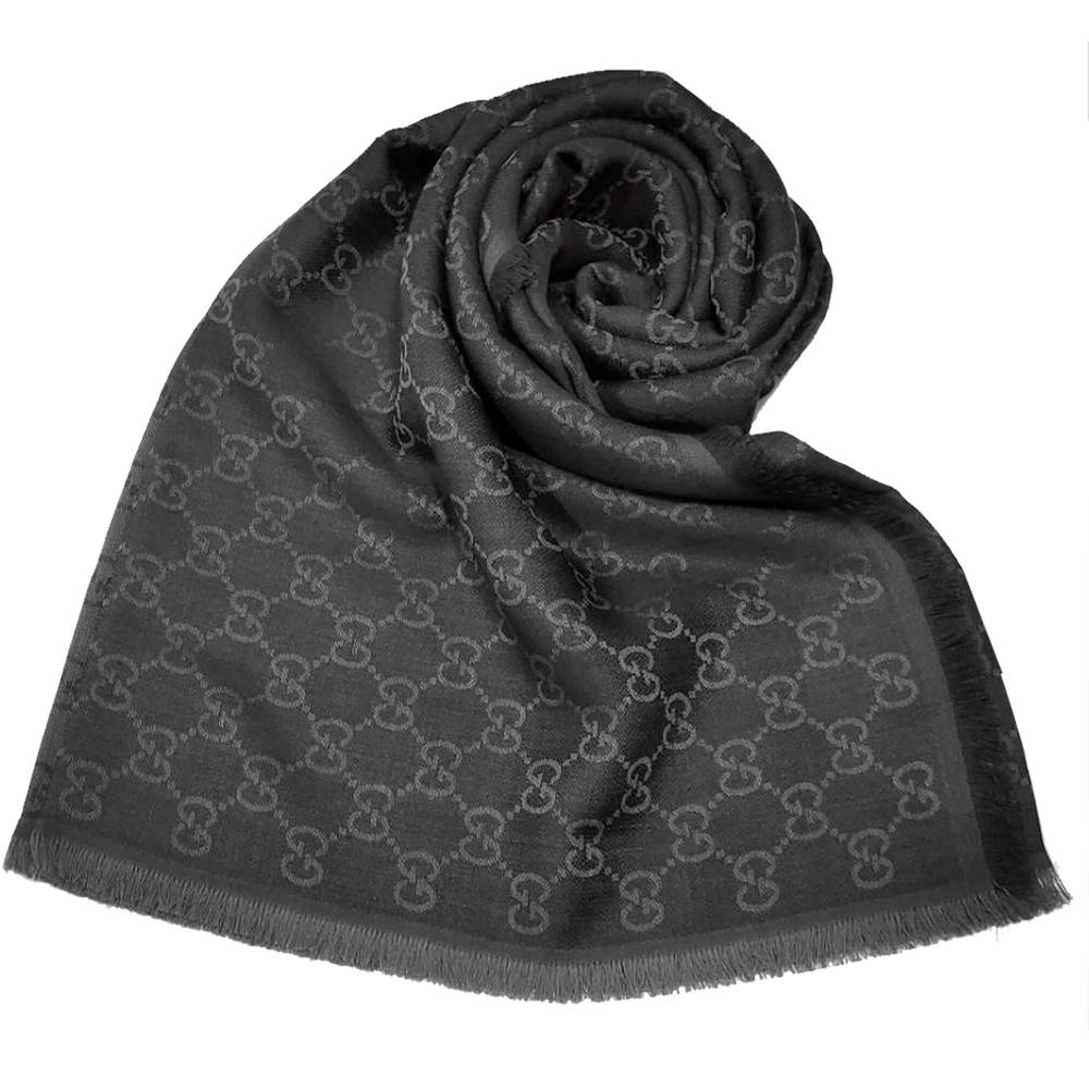 GUCCI 經典GG緹花線條羊毛混絲斜紋雙色流蘇披巾/圍巾(深灰色)