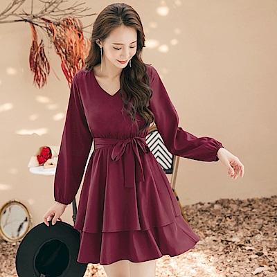 浪漫純色層次荷葉裙襬鬆緊腰綁帶拋袖洋裝-OB大尺碼