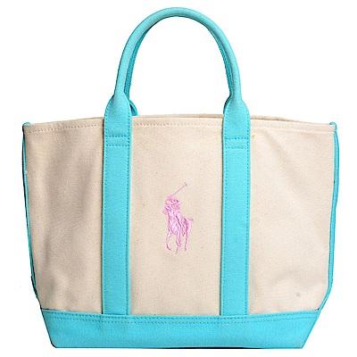 POLO Ralph Lauren 品牌LOGO圖騰刺繡尼龍手提包(藍色/粉紅馬)-展示品