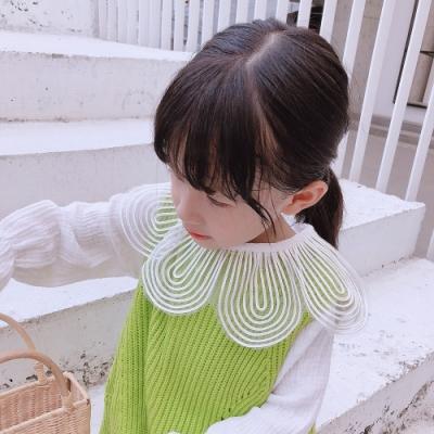 小衣衫童裝 女童輕甜味圓圓花瓣紗領長袖白色上衣1080918