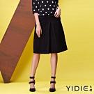 【YIDIE衣蝶】素面亮環拉鍊羊毛A字短裙