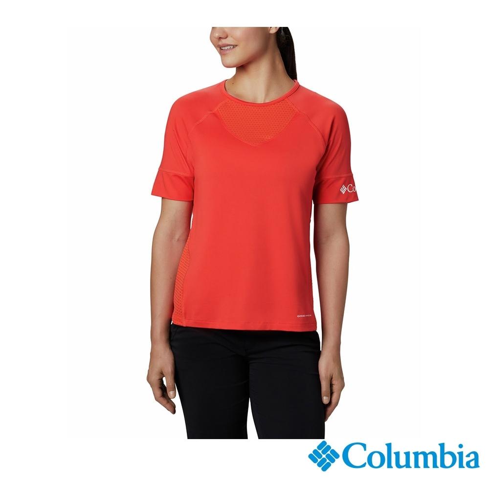 Columbia 哥倫比亞 女款- 防曬50快排短袖排汗衫-紅色 UAR23690RD