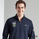 歐洲貴族 oillio 長袖T恤 螺紋立領 品牌刺繡 丈青色