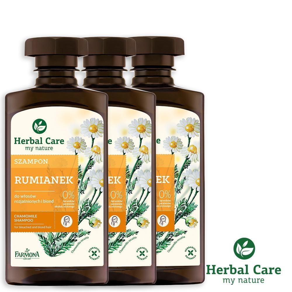 波蘭Herbal Care 洋甘菊護色植萃調理洗髮露(滋養強化髮質)330ml(3瓶組)