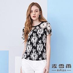 【麥雪爾】典雅玫瑰花蕾絲短袖上衣