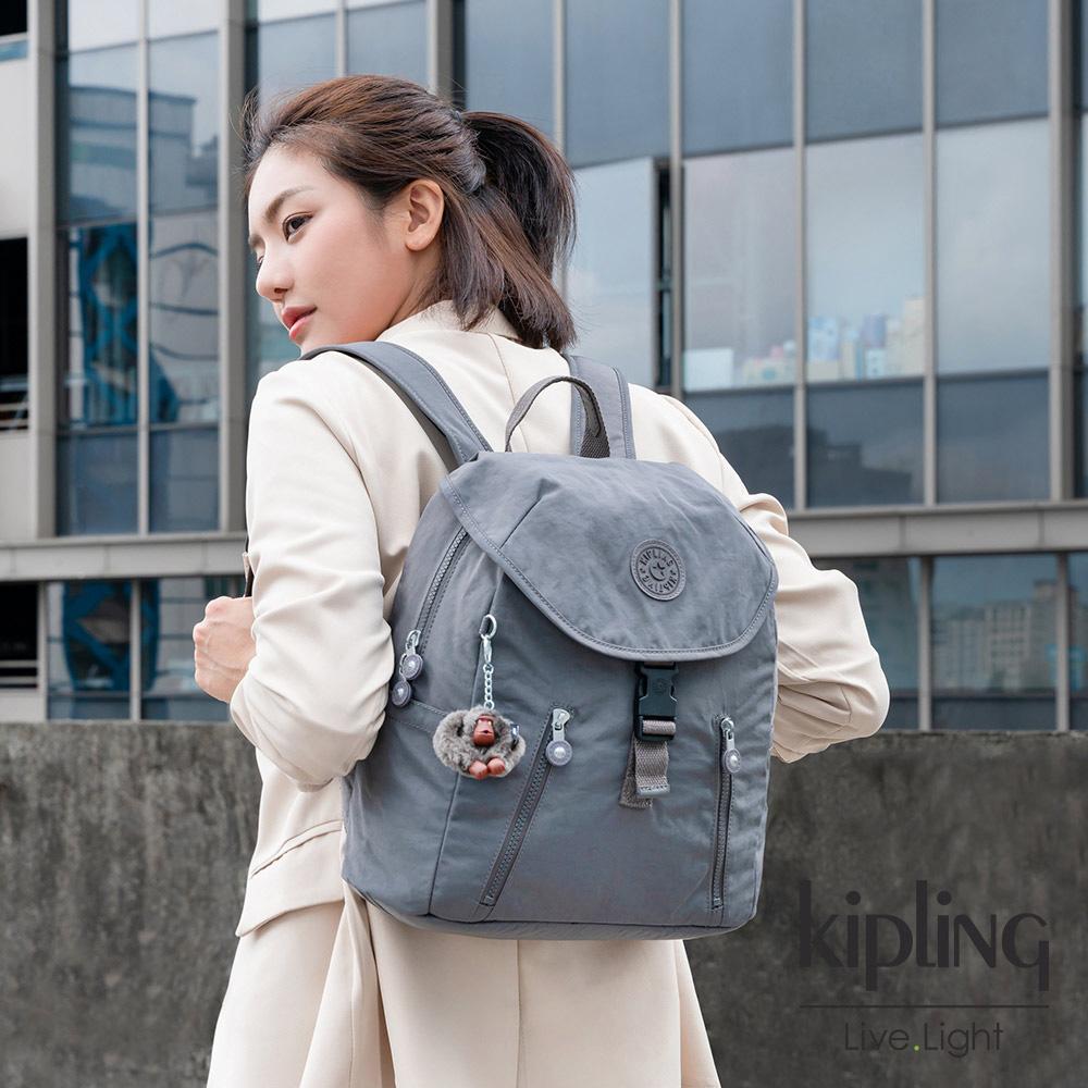 Kipling 極簡深卡其灰色前扣翻蓋後背包-ZAKARIA