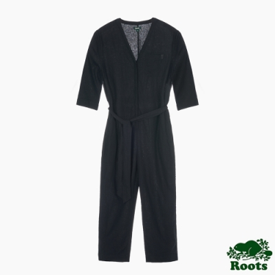 Roots 女裝- 摩登週間系列 亞麻連身褲-黑色