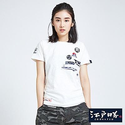 EDWIN 江戶勝 特色古圖短袖T恤-女-米白