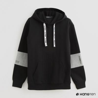 Hang Ten - 男裝 - 時尚配色連帽長袖上衣 - 黑
