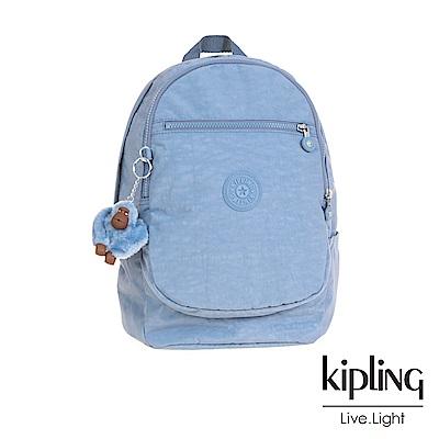 Kipling溫柔粉藍拉鍊後背包-CLAS CHALLENGER