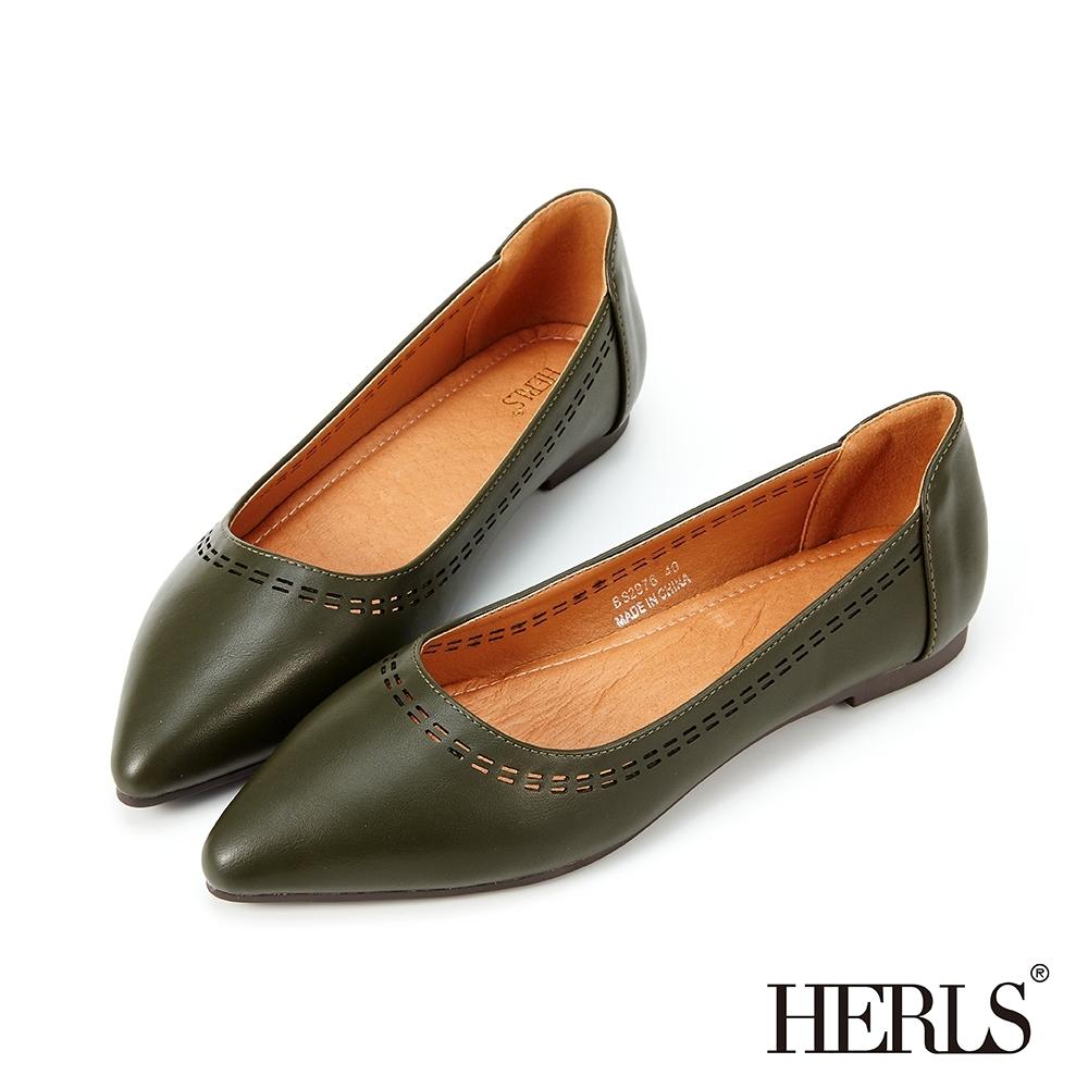 HERLS平底鞋-幾何沖孔滾邊尖頭平底鞋-墨綠色