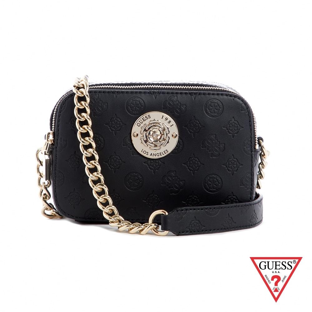 GUESS-女包-氣質金屬裝飾LOGO壓印鍊條小方包-黑 原價2890