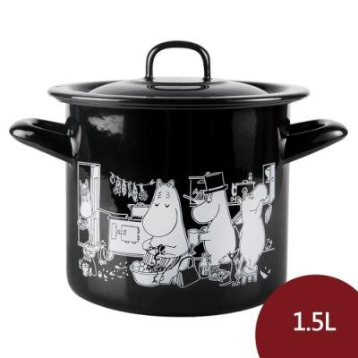 Muurla 嚕嚕米琺瑯湯鍋 家庭生活 黑色 1.5L