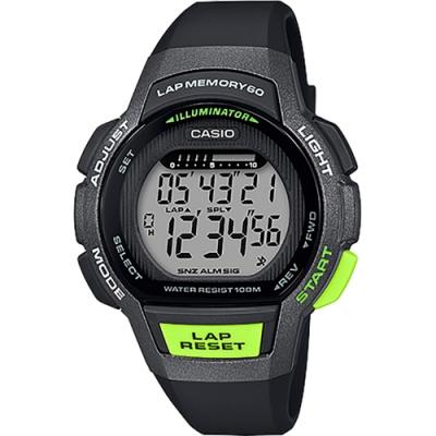 CASIO 卡西歐 運動慢跑女錶-黑x螢光綠(LWS-1000H-1A)