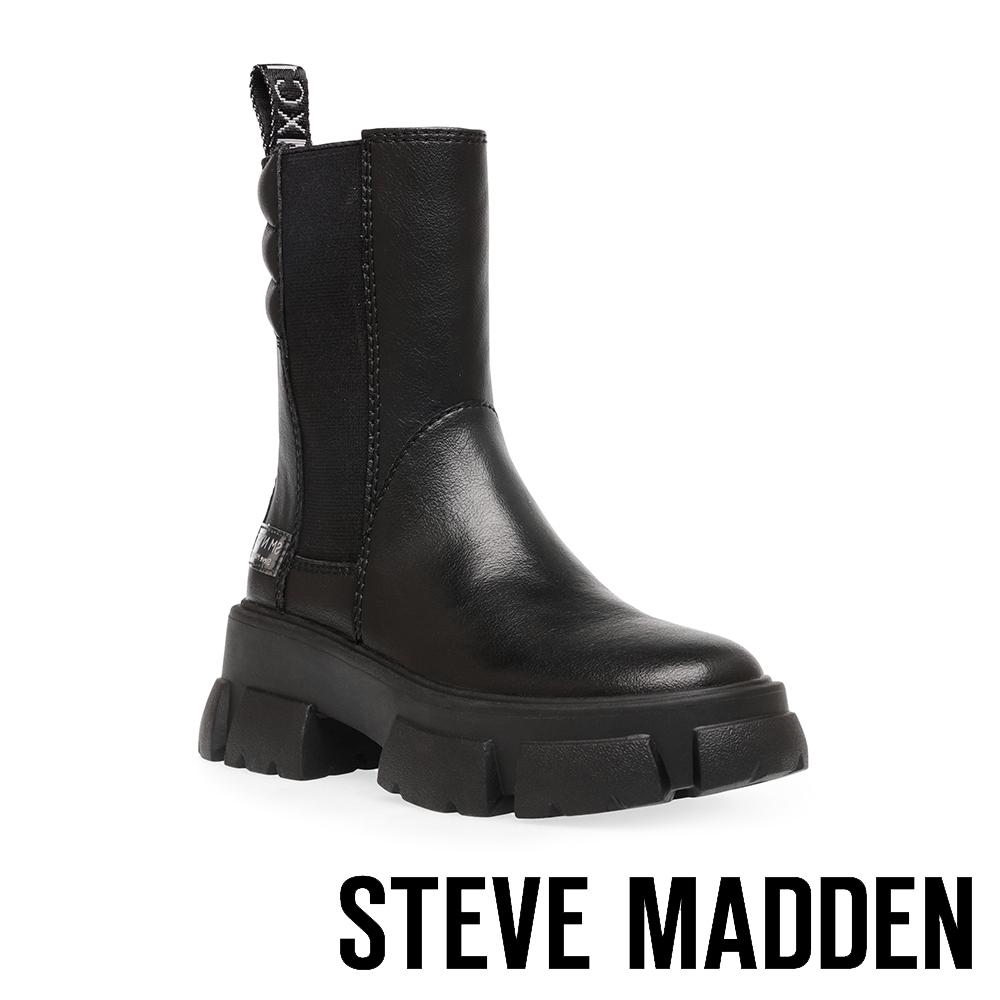 STEVE MADDEN-TRANSAM 簡約經典厚底中筒靴-黑色